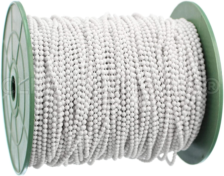 CleverDelights Ball Chain Spool - 100 Feet - White - 2.0mm Ball - Bulk Roll