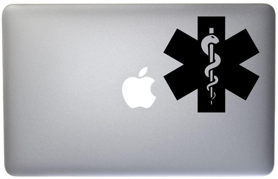 Caduceus Snake Staff Medical Symbol Vinyl Decal for MacBook, Laptop or Other Device 5 Inch (Black)