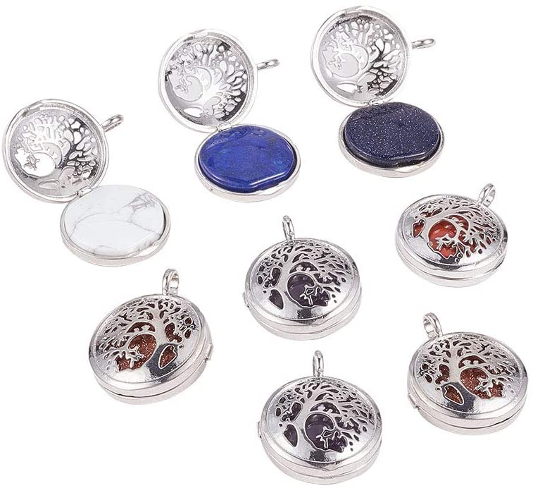 Airssory 10 Sets Semi-Precious Stone Healing Crystal Gemstone Tree of Life Filligree Locket Pendants with Brass Diffuser for Jewelry Necklace Making DIY Findings - 31x25mm