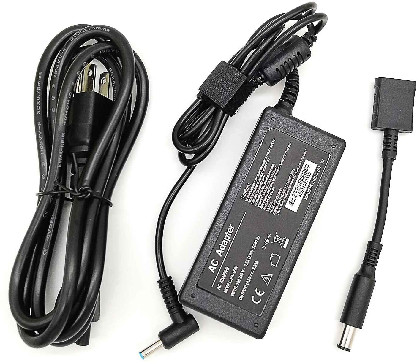 Kamesite 45W 65W 19.5V 3.33A AC Laptop Charger for HP Chromebook 14, HP Pavilion 15 17, HP Elitebook Series Blue Plug 14ft Laptop Power Adapter Supply Cord 4.5mm/3.0mm with 7.4mm/5.0mm Converter Cable