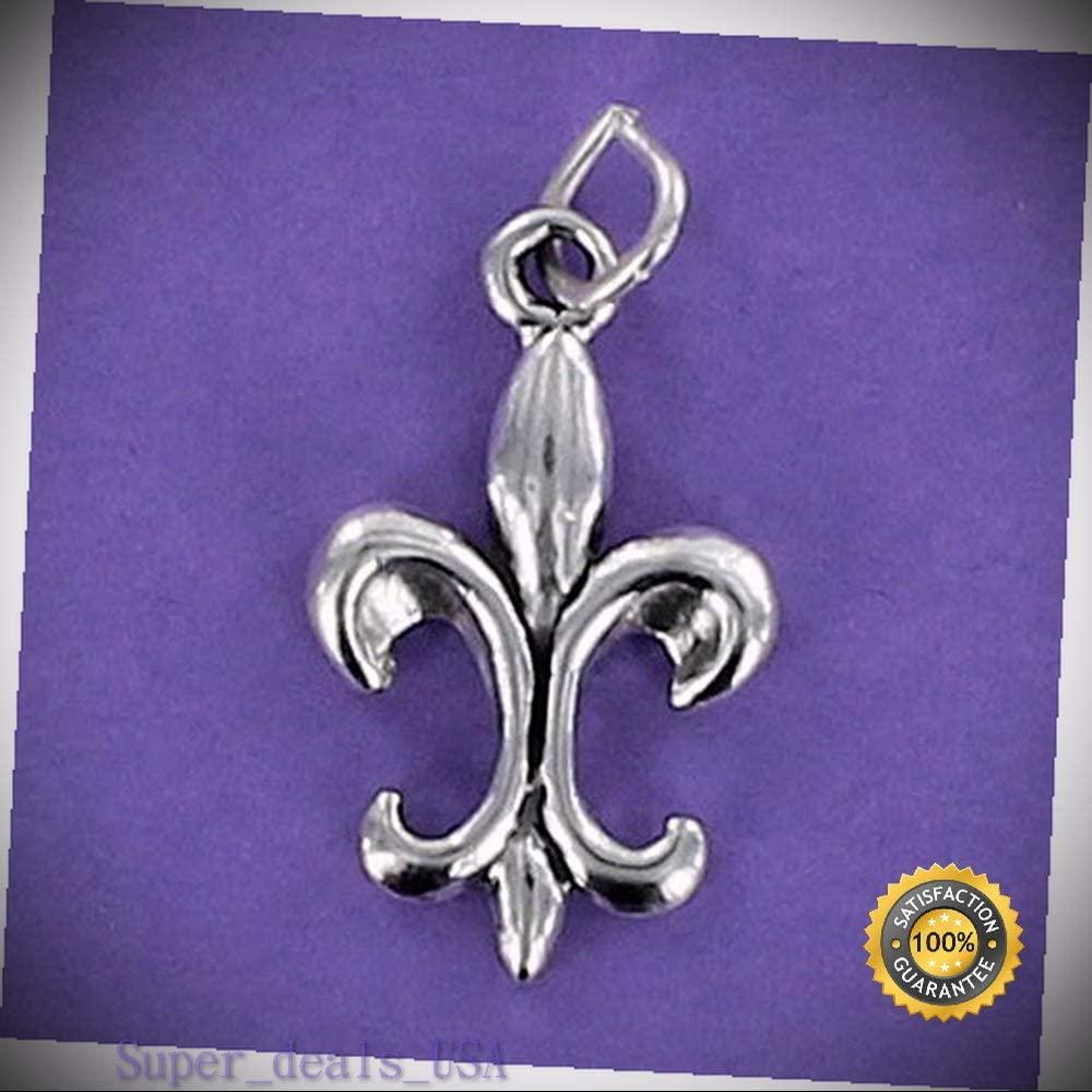 Fleur de Lis Charm Sterling Silver 925 for Bracelet New Orleans Saints Flower DIY Handmade Ornament Crafts