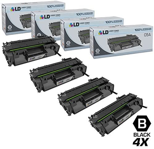 LD Compatible Toner Cartridge Replacement for HP 05A CE505A (Black, 4-Pack)