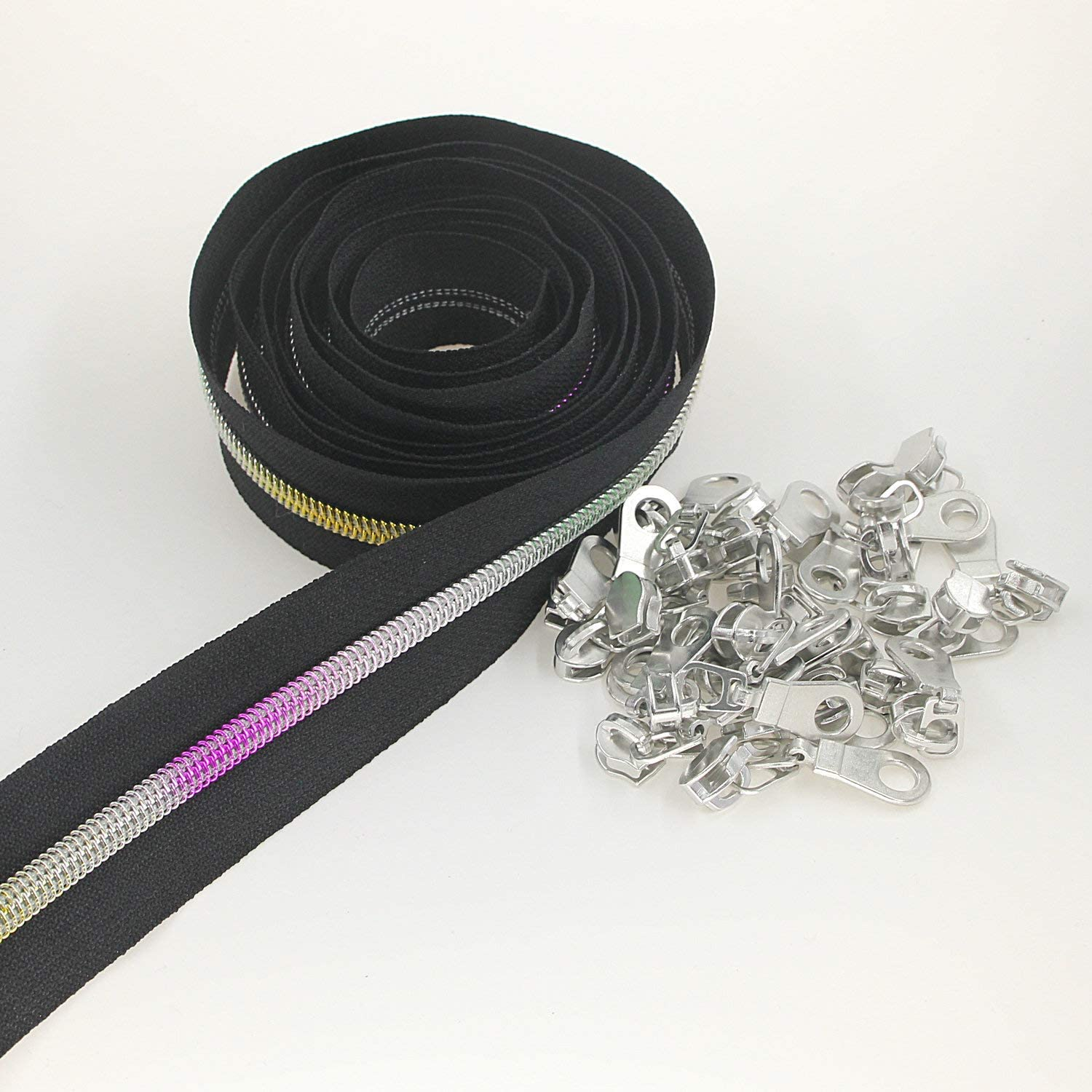 #5 Metallic Nylon Coil Zippers by The Yard Colorful Teeth Zipper Bulk 10 Yards Black Tape with 25pcs Silver Sliders for DIY Sewing Tailor Craft Bag Leekayer(Black)