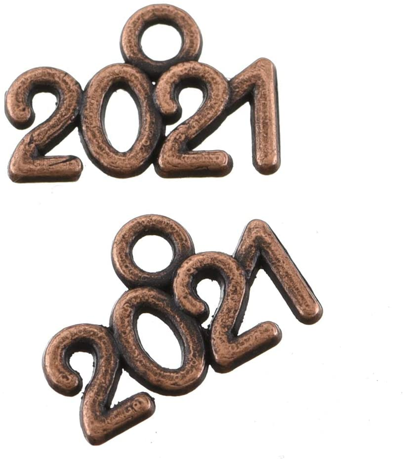 100pcs Antique Red Copper Plated Year 2021 Figures Numbers Charms Pendant Necklace Bracelet DIY Jewelry Making Accessories (B036)