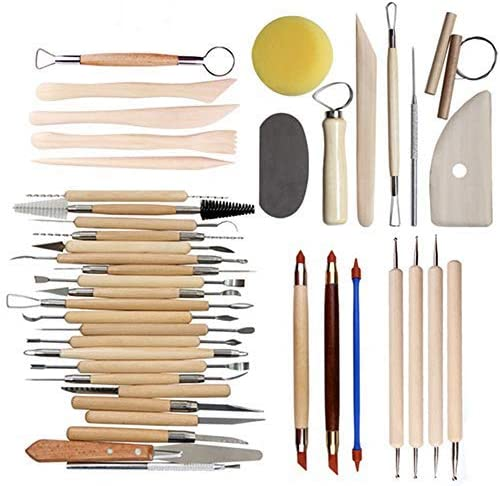 Projects Polymer Sculpting Wooden Handle Tool Pottery Model Carving Clay Tool Ball Styluses Nail Art(42PCS)