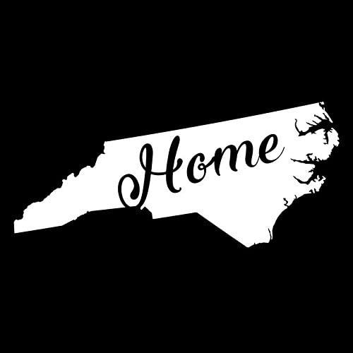 North Carolina Home State Vinyl Decal Sticker | Cars Trucks Vans Walls Windows Laptops Cups | White | 5.5 X 2.4 | KCD1949