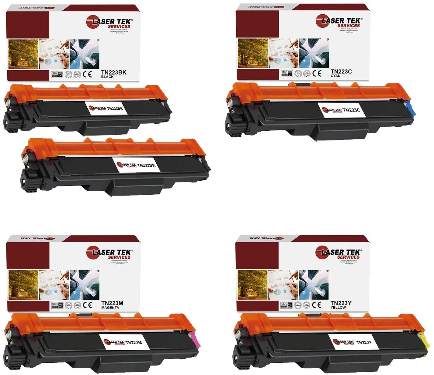 Laser Tek Services Compatible TN-223 TN223BK TN223C TN223M TN223Y Toner Cartridge Replacement for Brother HLL3210CW L3230CDW, DCPL3510CDW Printers (Black, Cyan, Magenta, Yellow,5 Pack)