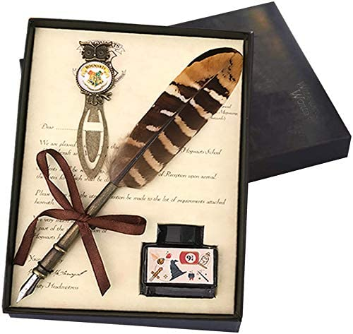 Antique Calligraphy Pen Gift Set Vintage Feather Quill Pen Set with Ink and Bookmark,-Creative Quill Pen Metal NIB Writing Pen with Feather Gift Set for Kids