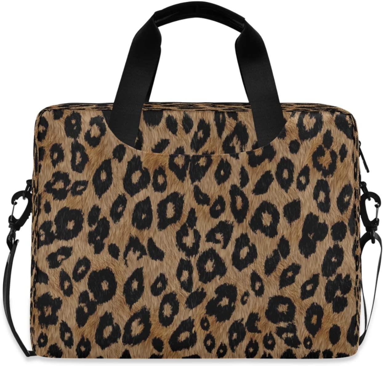 Yulife Vintage Leopard Print Laptop Bag Sleeve Case for Women Men Briefcase Tablet Messenger Shoulder Bag with Strap Notebook Computer Case 14 15.6 16 Inch for Kids Girls Business