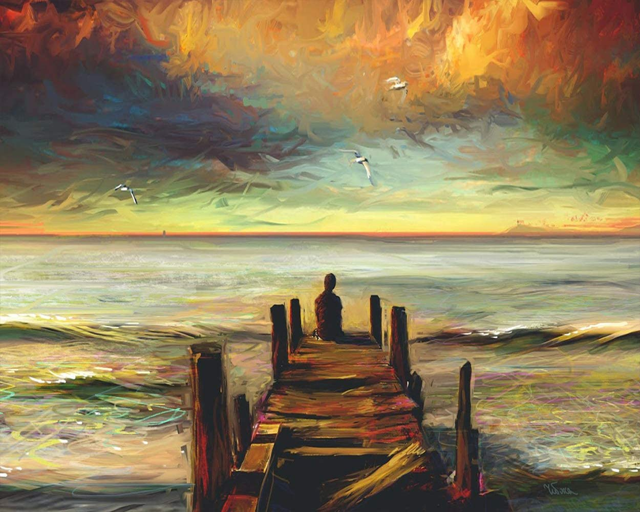 TUMOVO Beach Sunset Paint by Numbers Kits Lonely Back View DIY Painting by Numbers Seaside Landscape DIY Canvas Painting by Numbers Pier Acrylic Painting Arts Crafts for Home Wall Decor, 16x20 Inch