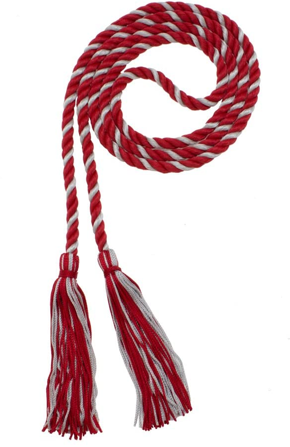 Honor Cord - RED/GREY - Every School Color Available - Made in USA - By Tassel Depot