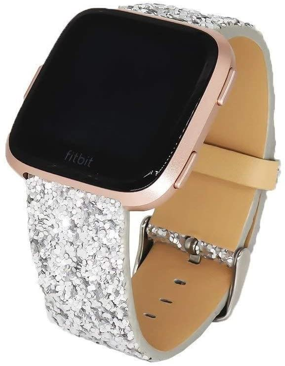 KuToo Replacement for Fitbit Versa Bands/Versa Lite Bands/Versa SE Bands, Leather Flash Glitter Bling Band Wristband Strap Replacement Accessory Band for Fitbit Versa//Versa 2 (3D Glitter Silver)