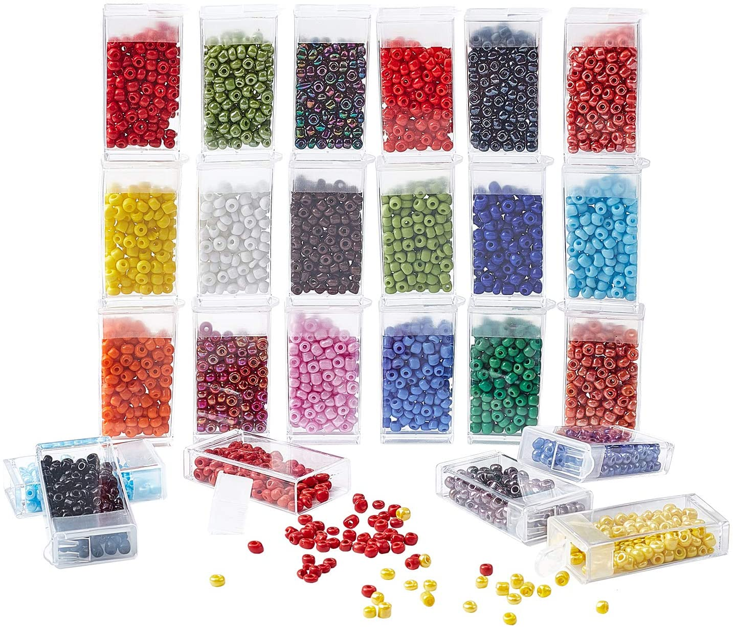 PH PandaHall Seed Beads for Jewelry Making, 24 Color 6/0 4mm Opaque Waist Seed Beads for DIY Belly Hawaii Bikini Jewelry Bracelet, Necklaces, Body Chain