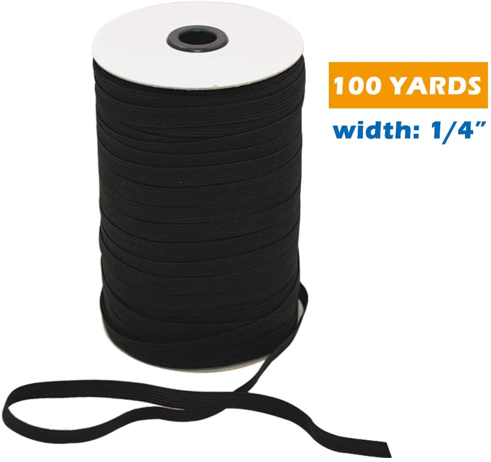 Elastic Cord for Sewing 1/4 Inch Eelastic Bands Flat Elastic Cord Stretch Knit Elastic Spool for DIY (Black, 100 Yards)