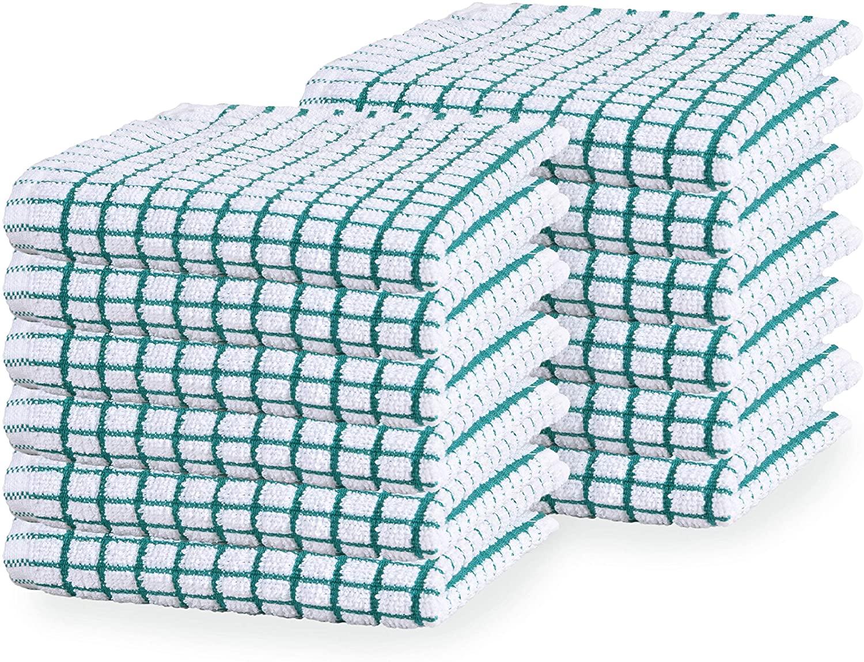GLAMBURG Terry Windowpane Dish Cloths 12x12 Set of 12, Absorbent Dish Towels and Dish Cloths, Machine Washable Kitchen Tea Towels, Kitchen Bar Towels and Dish Towels - Teal
