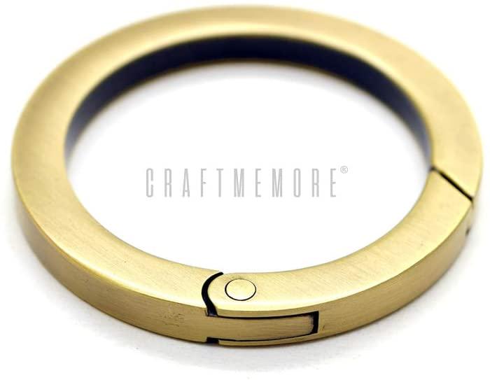 CRAFTMEMORE Metal O Ring Spring Opening Purse Making Snap Trigger Flat Angle-Edge O-Rings Clip Key Ring Holder Bag Hardware 2 Pack (Inside Diameter 1 1/4 Inch, Brushed Brass)