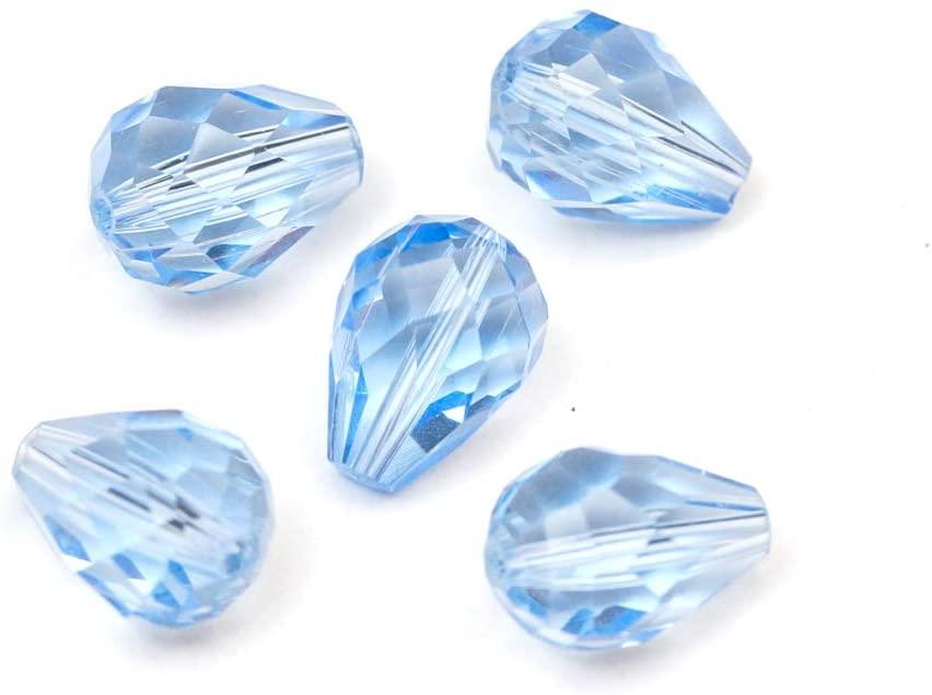 100pcs 8x6mm Adabele Austrian Teardrop Crystal Beads Light Sapphire Compatible with 5500 Swarovski Crystals Preciosa SST-814