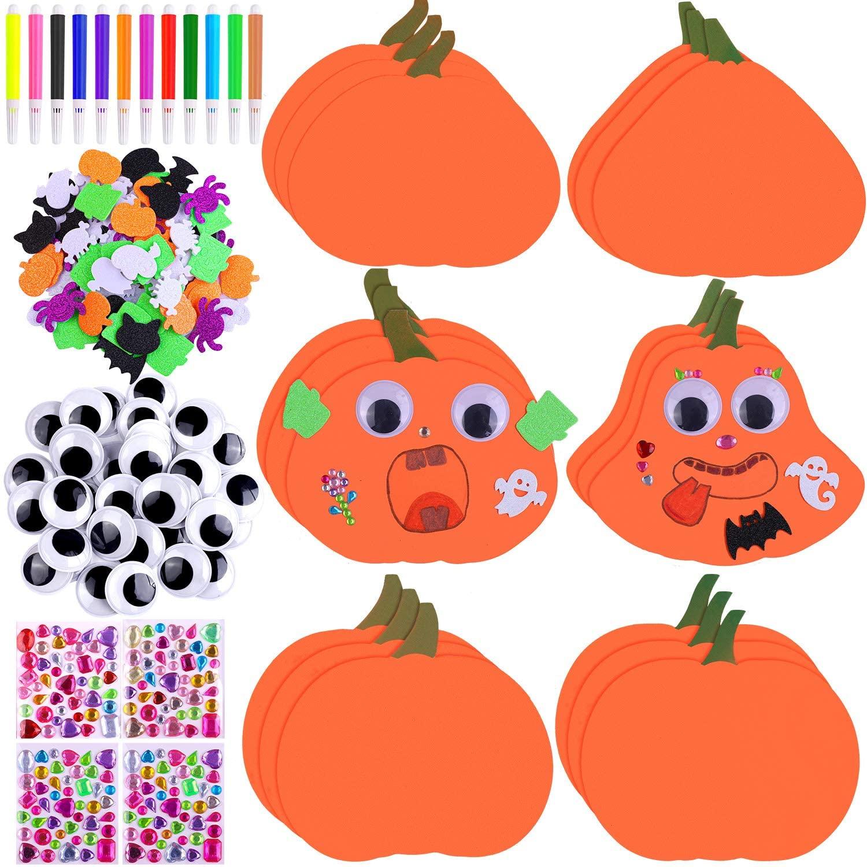 Aneco Halloween DIY Foam Pumpkin Craft Kit, 18 Piece Pumpkin Shape Foam 100 Piece Glitter Halloween Foam Sticker 12 Piece Watercolor Pen 4 Sheet Diamond Sticker 36 Piece Wiggle Eyes for Halloween Game
