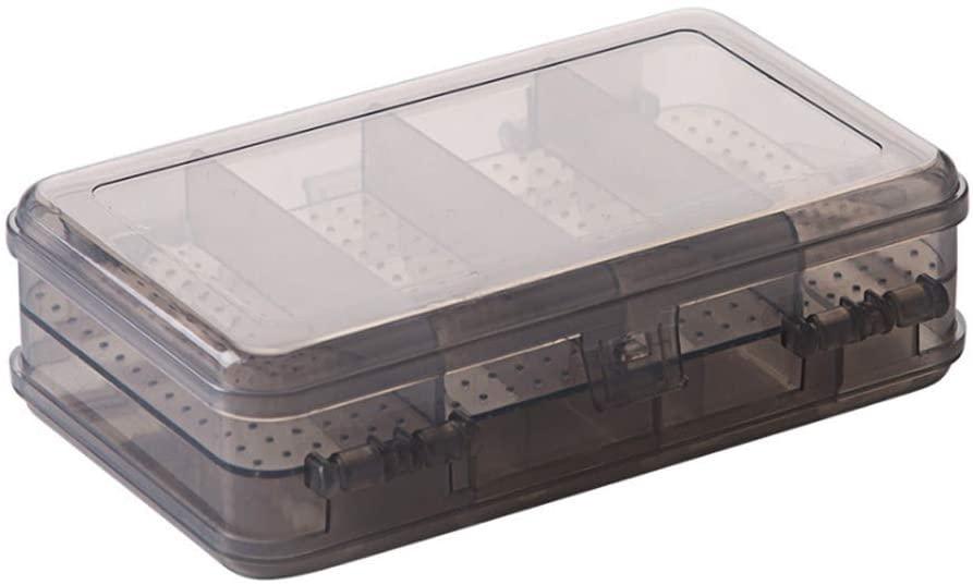 AKOAK 1 Pack Double Compartment Portable Jewelry Box Plastic Transparent Earrings Storage Box 10 Grid Mini Storage Box (Gray)