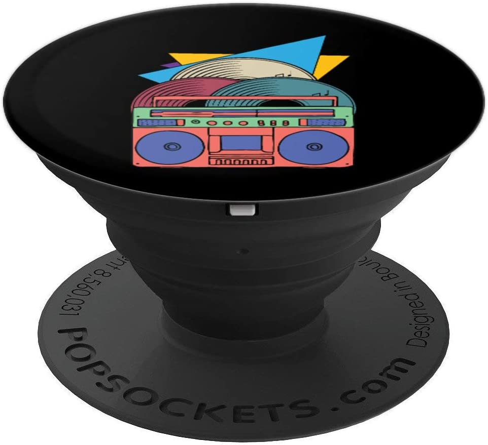 90s Music Retro Vinyl Tape Recorder Nineties PopSockets Grip and Stand for Phones and Tablets