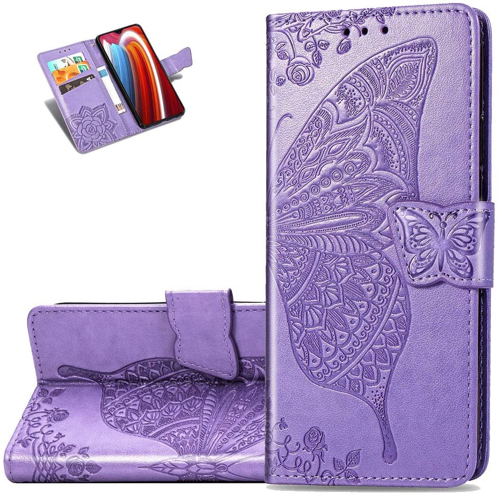 LEMAXELERS Samsung Galaxy A21S Case PU Leather Flip Wallet Case Embossed Full Body Protection Flip Stand Card Holder Magnetic Cover for Samsung Galaxy A21S Big Butterfly Light Purple SD