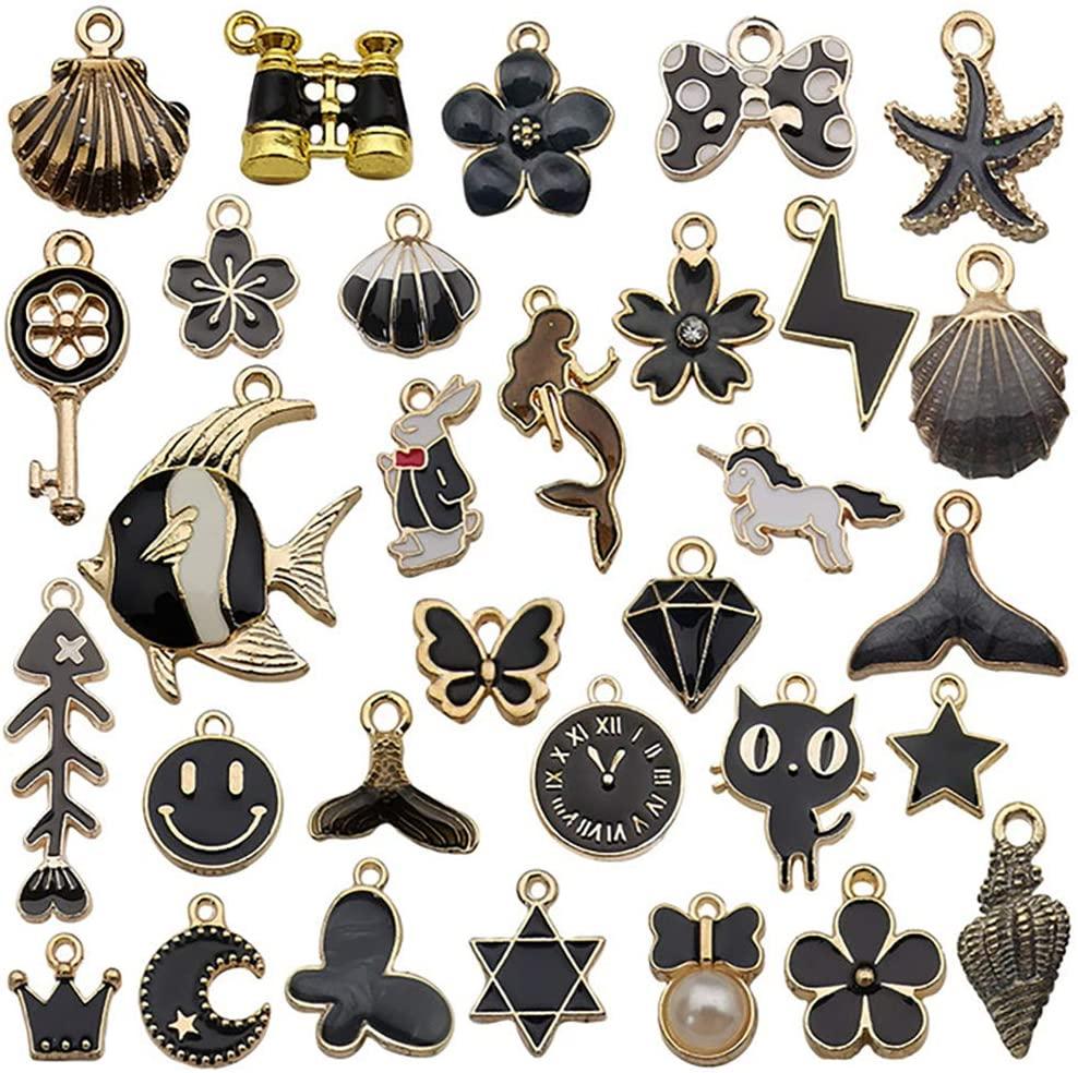 Halloween Charms for Bracelet Making Charm Bracelet Charms Making Assorted Gold Plated Enamel DIY Making (Black)