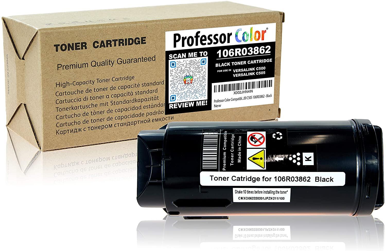 Professor Color Compatible Toner Cartridge Replacement for Xerox VersaLink C500 C505 106R03862 - Black