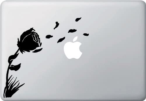 Yadda-Yadda Design Co. Rose in The Wind - MacBook or Laptop Vinyl Decal Sticker (Color Variations Available) (Black)