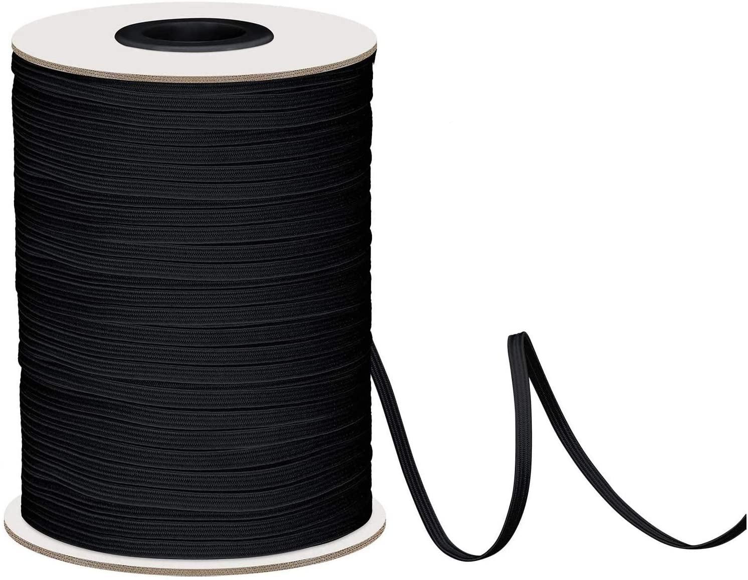 Elastic Band for Sewing Elastic Cord Braided Elastic Rope Elastic Spool Elastic String High Elasticity Knit Heavy Stretch for Sewing Crafts DIY Bedspread Cuff (1/8 inch 3mm 200 Yards Black)
