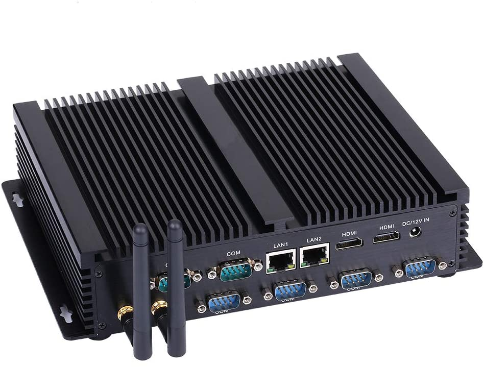 Fanless Industrial PC,Mini Computer,Windows 7/10 Pro/Linux Ubuntu,Intel Core I5 4200U,(Black),[HUNSN IM04],[64Bit/Dual Band WiFi/2HDMI/4USB2.0/4USB3.0/2LAN/6COM],(8G RAM/512G SSD)