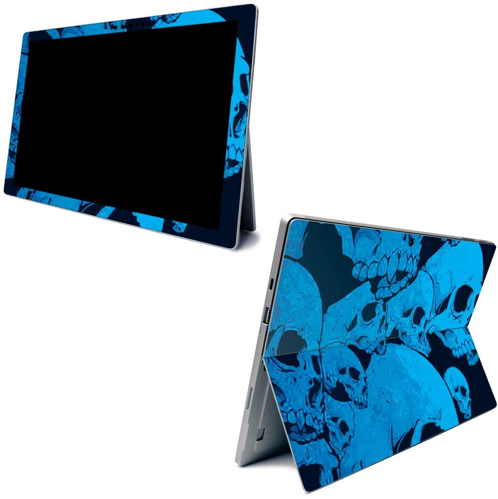 MightySkins Skin for Microsoft Surface Pro 7 - Blue Skulls   Protective, Durable, and Unique Vinyl Decal Wrap Cover   Easy to Apply, Remove, and Change Styles   Made in The USA