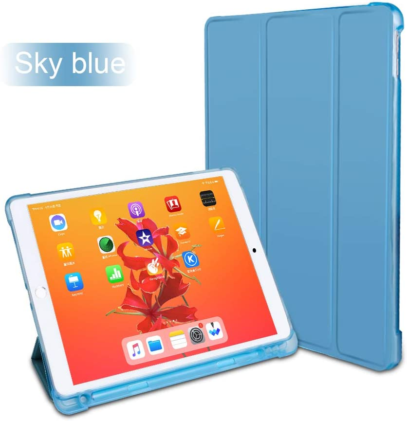 CaseOps Trifold iPad Folding Cover with Protective Back and Pen Holder (Light Blue)