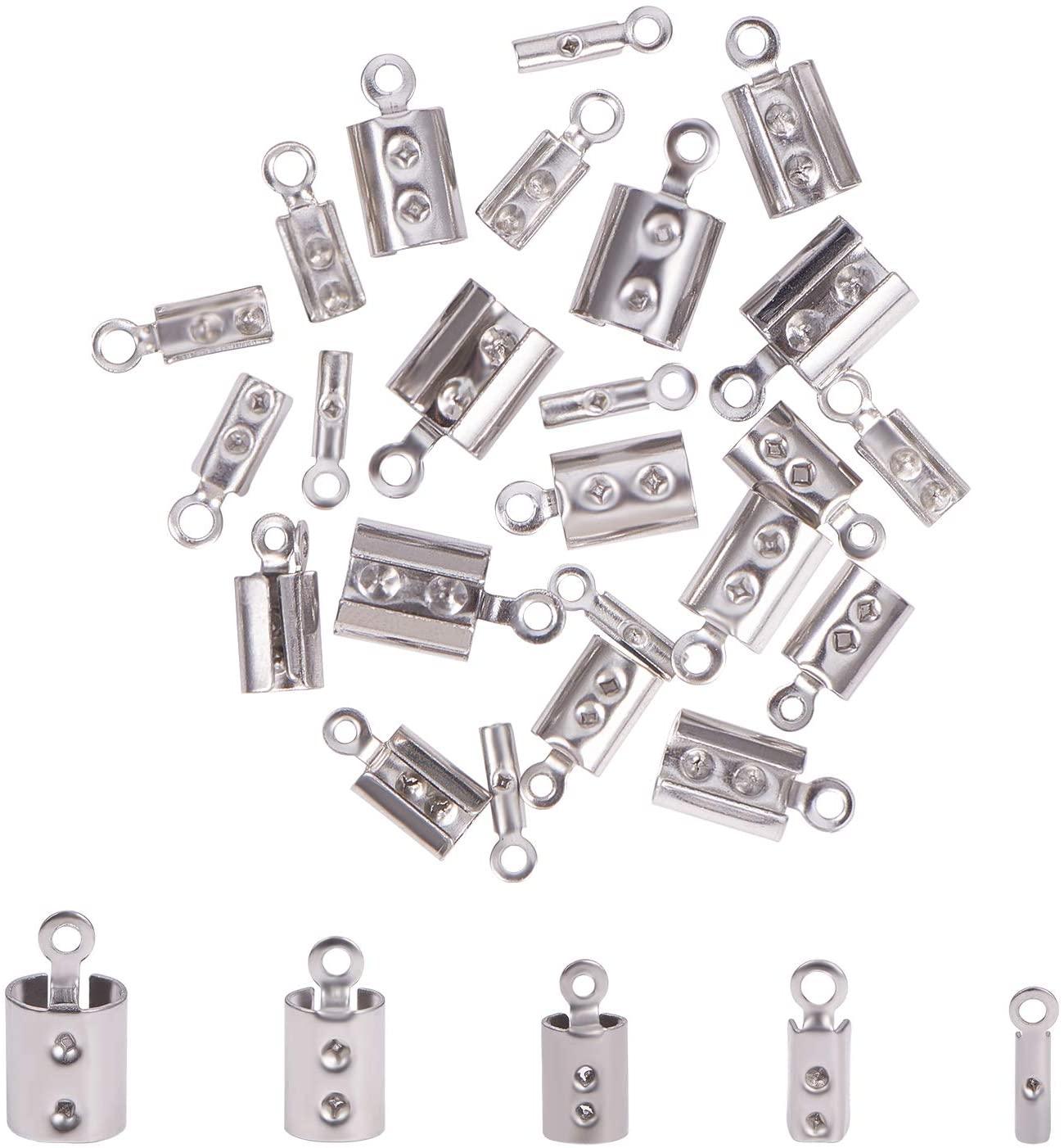 UNICRAFTALE 5 Sizes Folding Crimp Ends 250pcs Crimps Ends Fold Over Cord Ends Terminators Clamp End Tips Jewelry Finding Kit for Bracelets