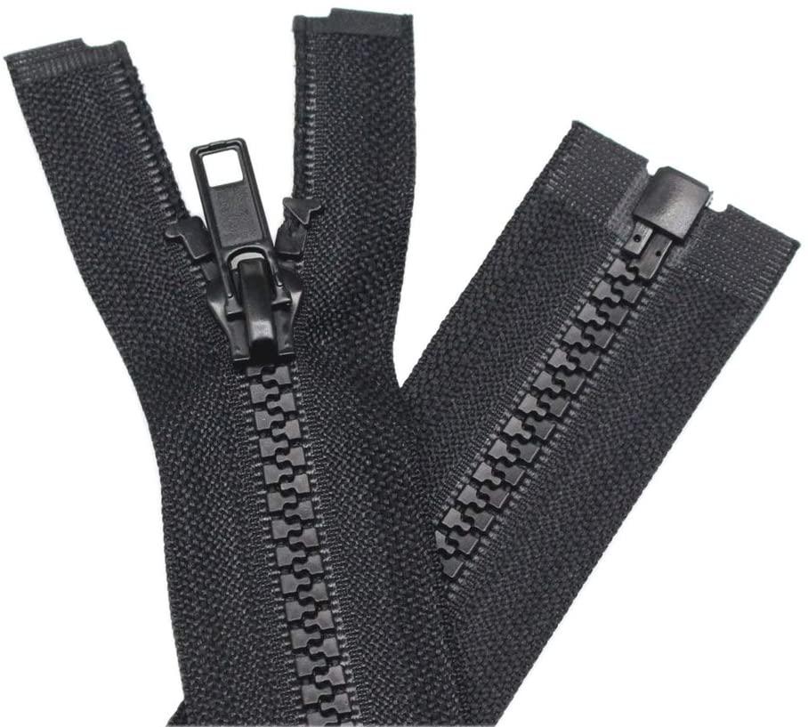 YaHoGa 2PCS #5 18 Inch Separating Jacket Zippers for Sewing Coats Jacket Zipper Black Molded Plastic Zippers Bulk (18