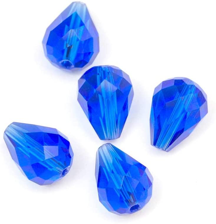 100pcs 10x8mm Adabele Austrian Teardrop Crystal Beads Sapphire Compatible with 5500 Swarovski Crystals Preciosa SST-1013