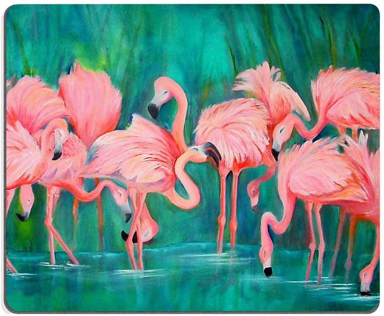 Pink Flamingo Square MousePadNon-SlipRubberBaseWomen GirlMousePadsforComputersLaptopOffice,9.5x7.9x0.12Inch(240mmx200mmx3mm)