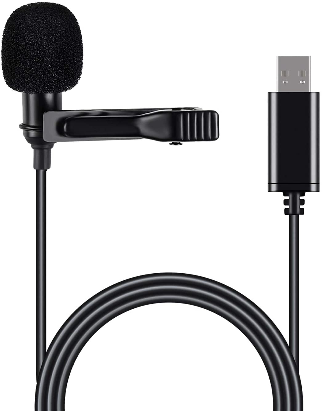 USB Lavalier Microphone for Computer, Clip on Lapel Mic for PC Mac Desktop Laptop Computer Omnidirectional Lav Mic for Recording Audio Interview Video Podcast YouTube Zoom