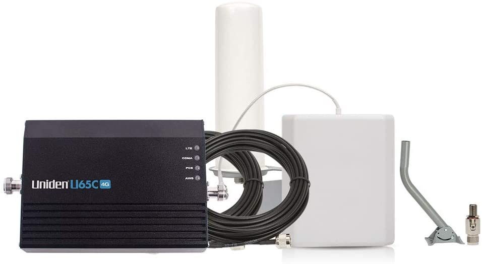 Uniden U65C 4G Home/Office Cellular Signal Booster Kit with Yagi Directional Antenna, Up to 4,000 Sq. Ft. Plus Free Surge Arrestor and Mounting Pole