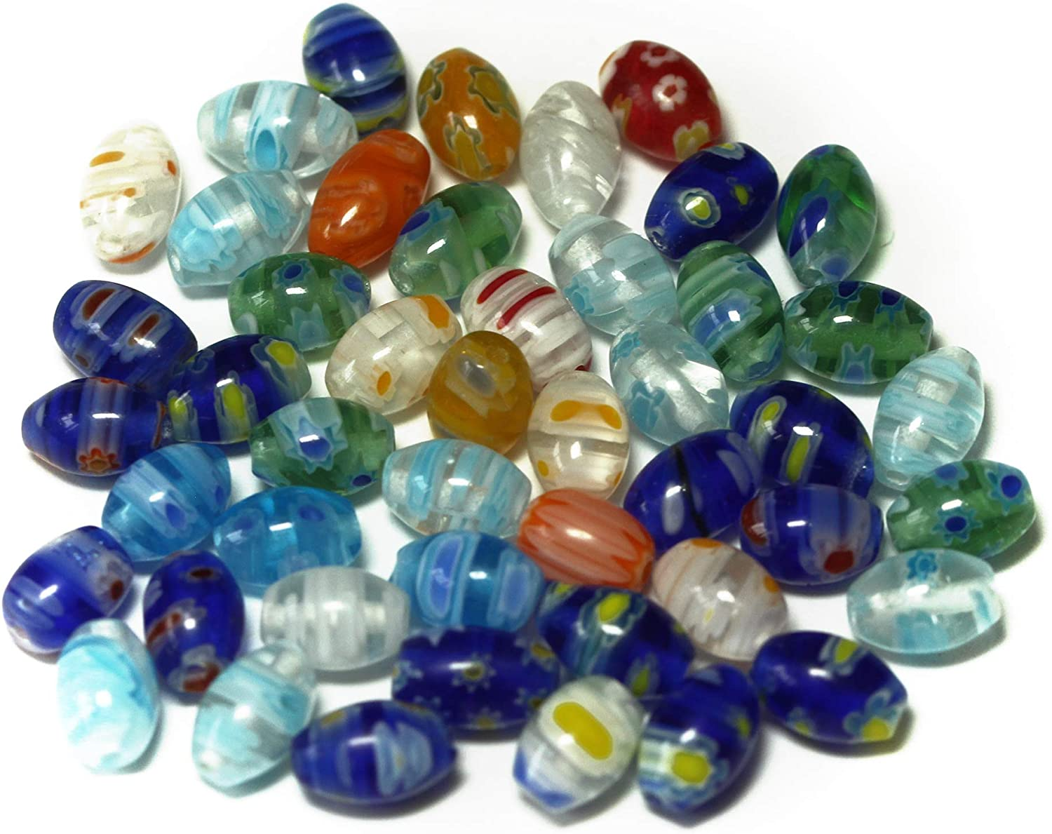 ALLinONE Millefiori Lampwork Glass Beads for DIY Necklace Bracelet Jewelry Making (6x8mm Oval)