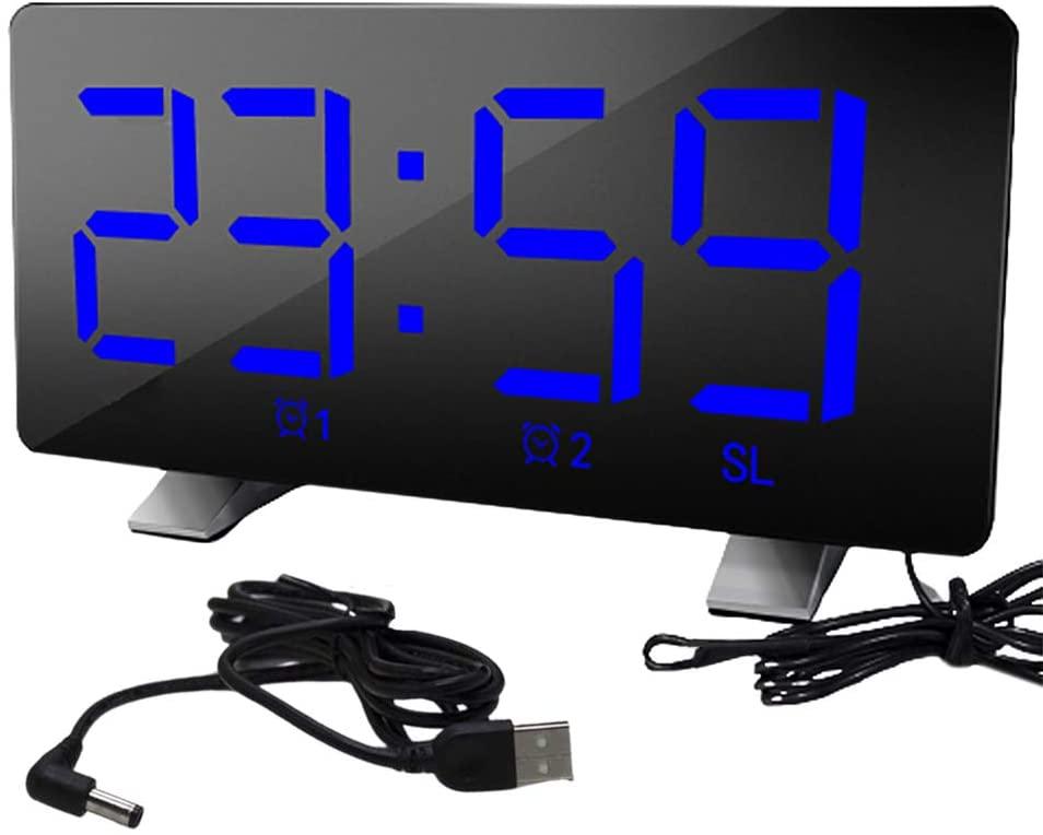MOHALIKO Alarm Clock, Digital Alarm Clock, Loud Alarm Clock, LED Digital Display USB12/24 Hours Dual Modes Snooze Alarm Clock with FM Radio for Kids and Adults Blue