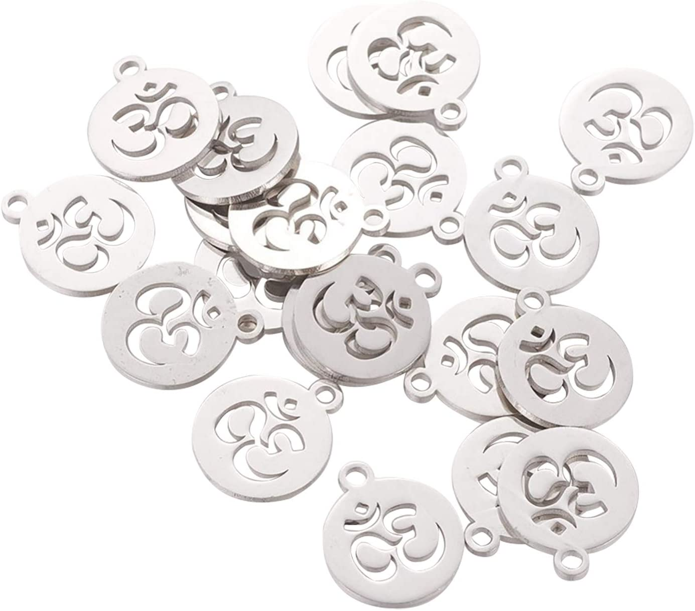 UR URLIFEHALL 20 pcs 304 Stainless Steel Flat Round with Ohm Charms Pendent for Necklack DIY Making