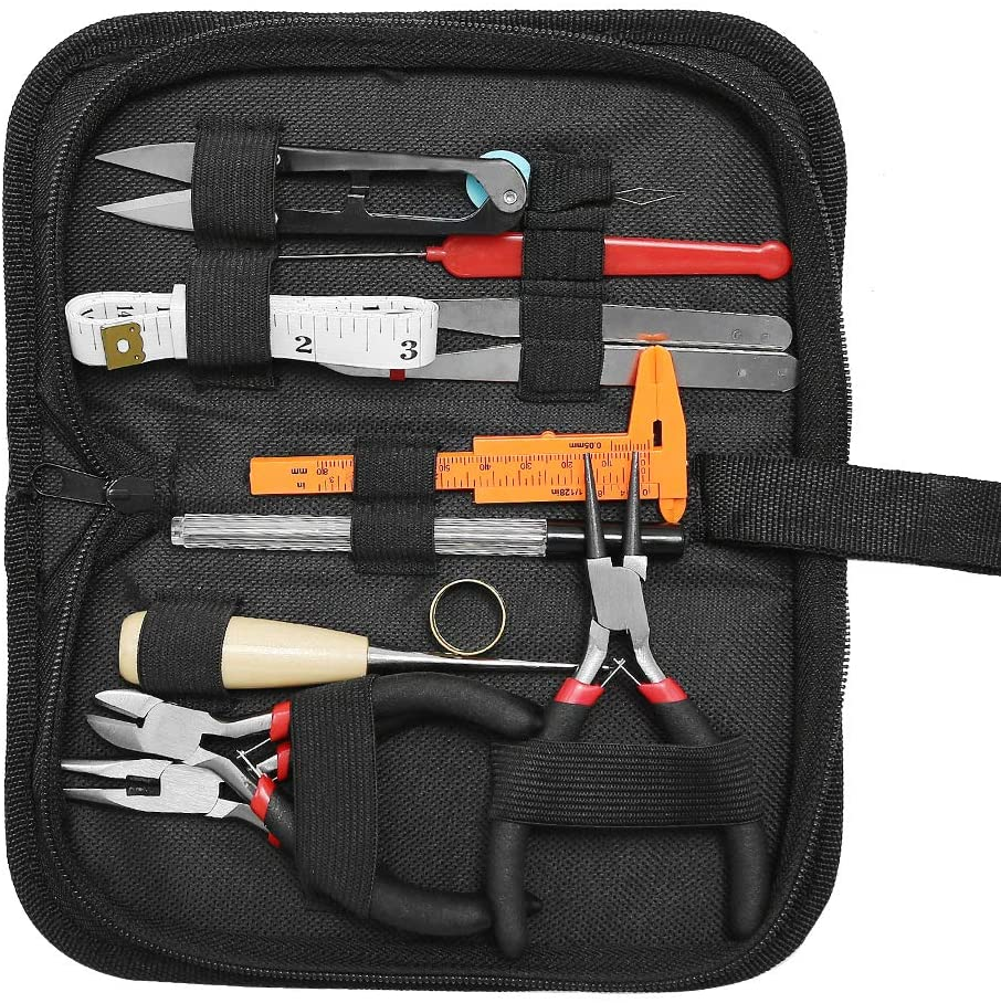 Hoypeyfiy 19Pcs Jewelry Making Tools Kit with Zipper Storage Bag for DIY Jewelry Crafting and Jewelry Repairing