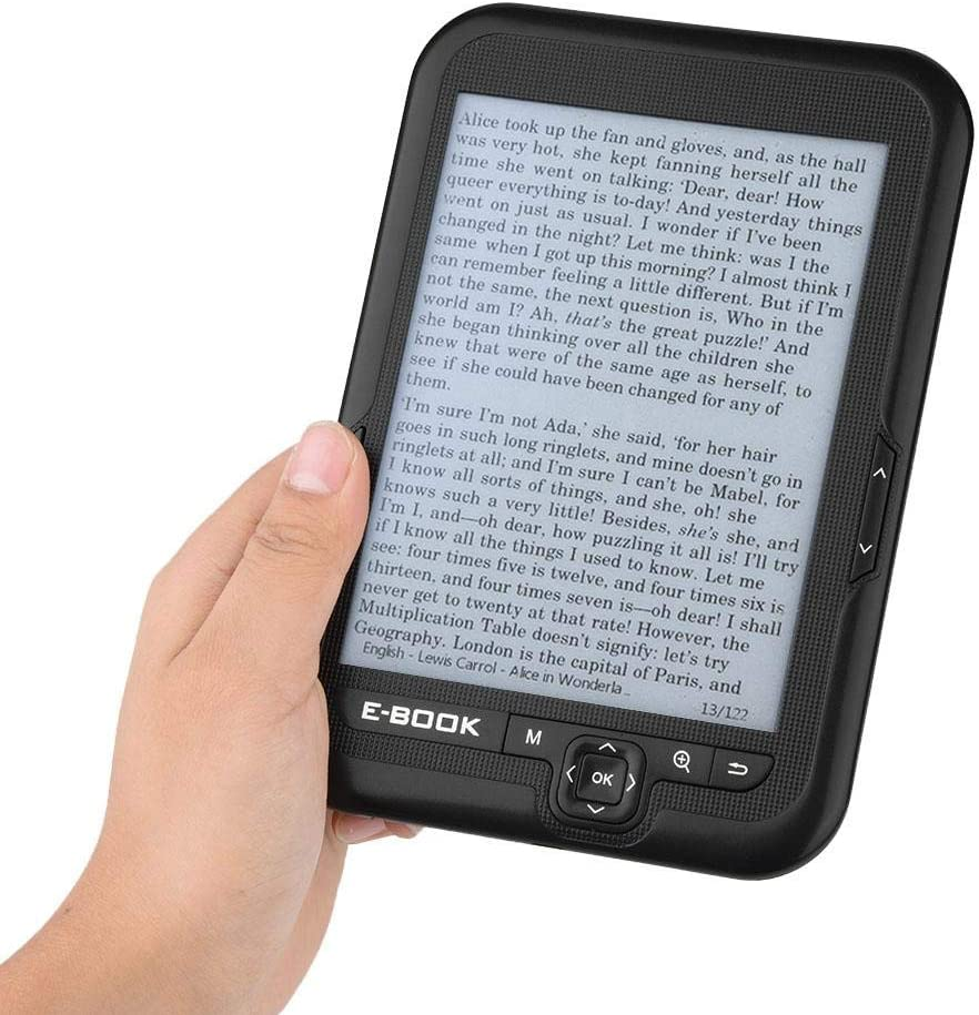 FastUU 6 Inch E-Reader, Lightweight Portable E-Book Electronic Ink Screen E-Book Reader, with 29 Languages High-Resolution, Display Low Power Consumption, for Study, Relax, Outdoors(Black 4G)