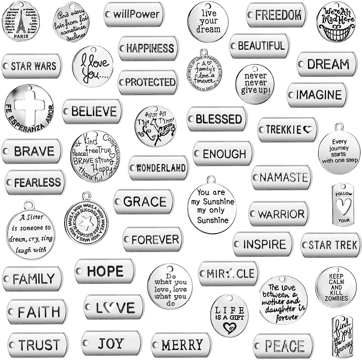 Inspiration Words Charms Pendants Engraved Motivational Charms Pendants Craft Supplies Pendants for Jewelry Making Crafting DIY Necklace Bracelet Accessories (50)