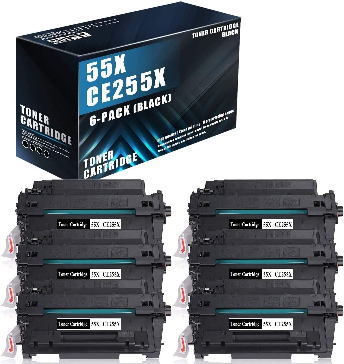 (6-Pack Set,Black) Compatible 55X | CE255X Toner Cartridge Replacement for HP Laserjet Pro MFP M521dn MFP M525dn MFP M525f MFP M525c P3015 P3015n P3015dn P3015x Printers,Sold by MonInk