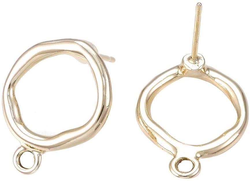 arricraft 100 Pcs Light Gold Ring Alloy Stud Earring Findings, 18x14mm, Hole: 2mm Pin: 0.7mm