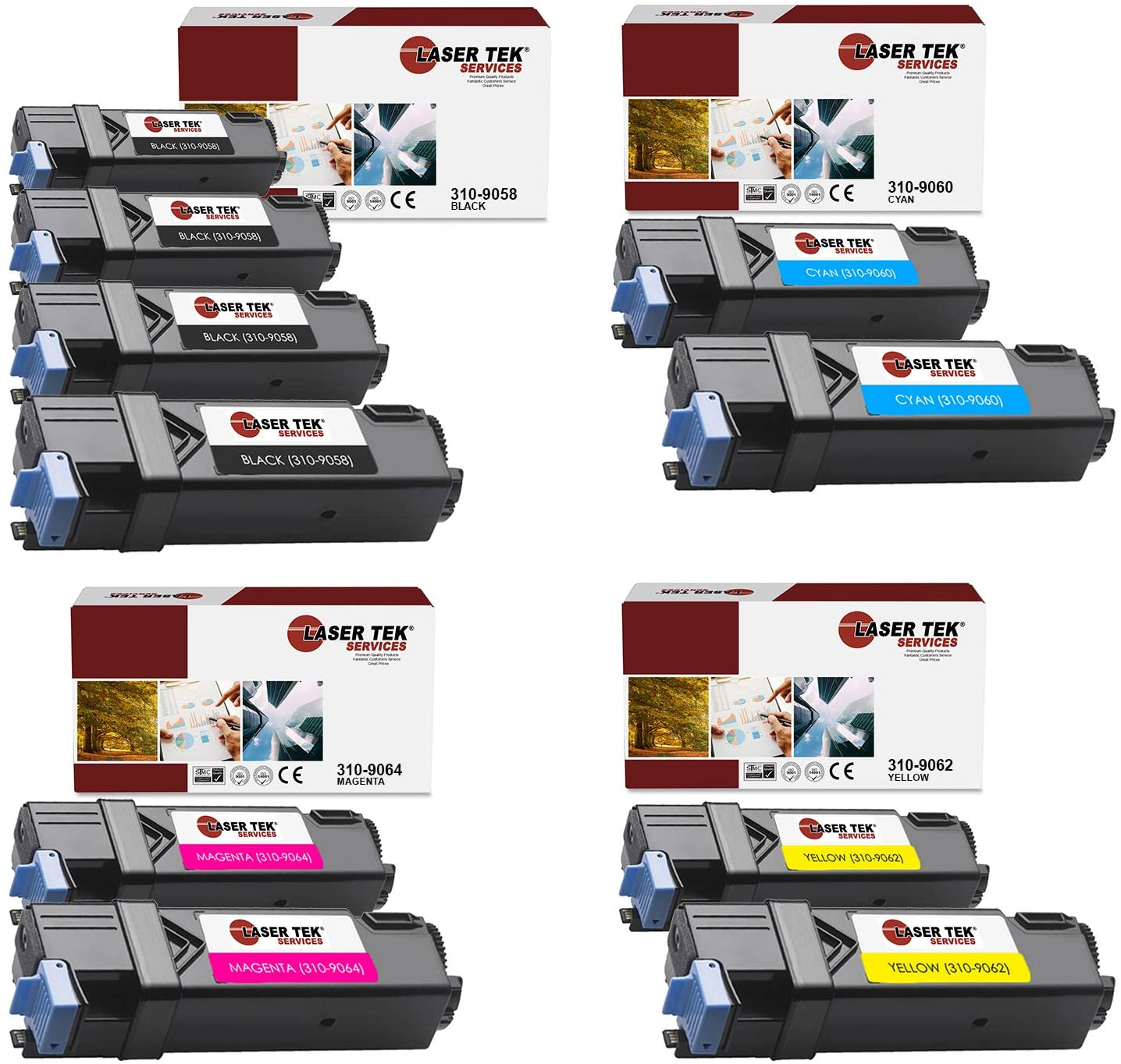 Laser Tek Services Compatible 310-9058 310-9060 310-9064 310-9062 Toner Cartridge Replacement for Dell 1320 1320C 1320CN Printers (Black, Cyan, Magenta, Yellow,10 Pack)