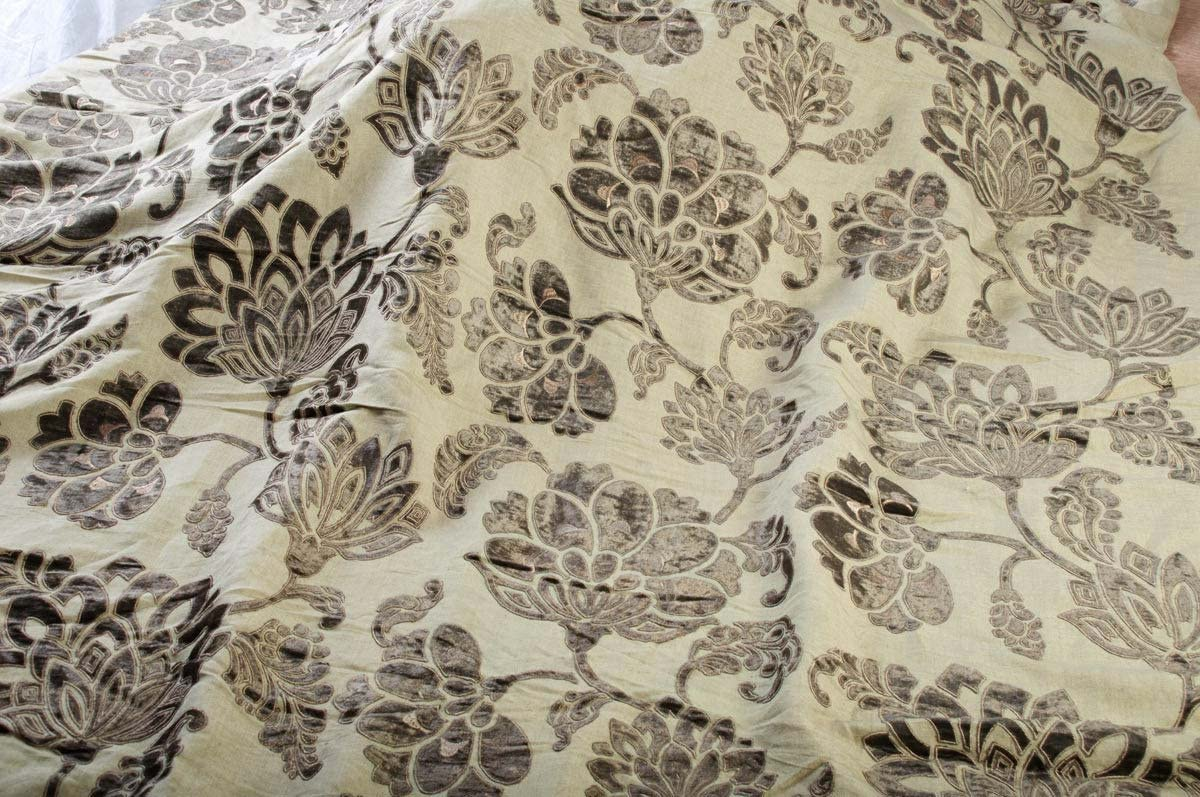 TSC Hand Woven Soft Linen Fabric with Velvet Applique Embroidery Sold by Yard for Dresses,Garments,Home Decor 52 Wide.