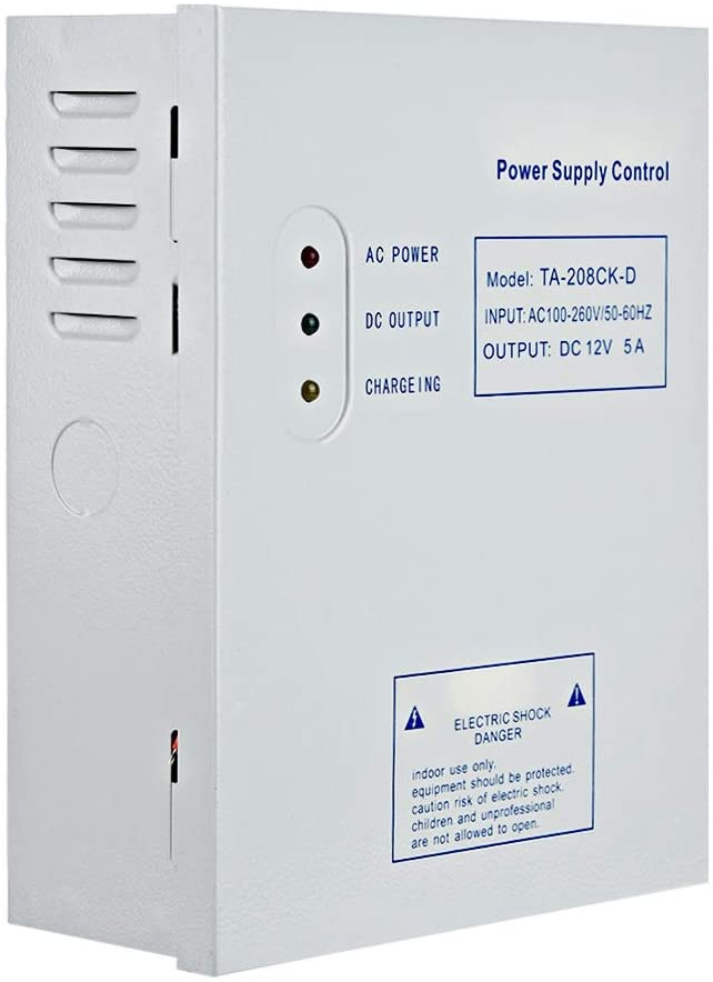 AMONIDA Access Control Power Supply, DC 12V/5A AC 110-240V Door Access Control System Switching Supply Power UPS Power Supply