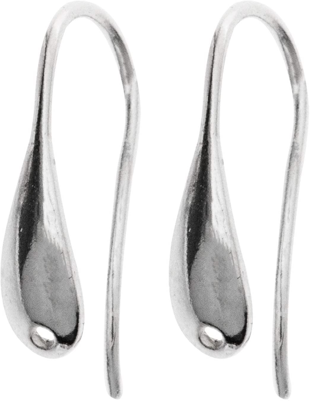 4 pcs .925 Sterling Silver Tear Drop Shape Ear Wire Earring French Hook Dangle Hole/Findings/Bright